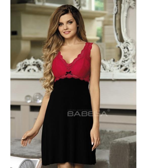 babella larisa koszulka nocna z usztywnianymi miseczkami biustonosza czarno czerwona