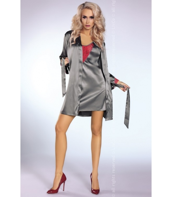 komplet koszulka livco corsetti platinum red + szlafrok + stringi damskie