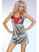 srebrna koszulka nocna platinum red + szlafrok + stringi firmy livco corsetti