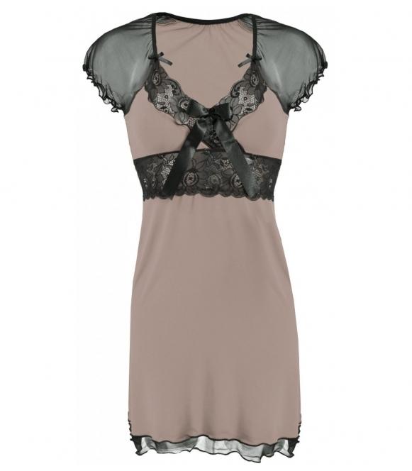 dkaren koszulka nocna cappucino z czarną koronką model paulina bielizna nocna z wiskozy