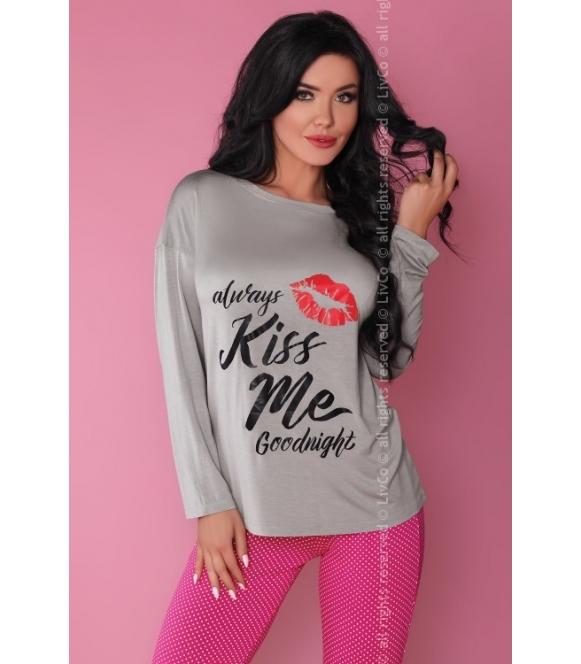 Piżama Sweet Kiss 108 Szaro-różowa