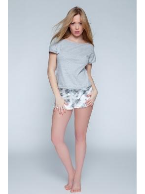 romantic bawełniana piżama z krótkim rękawem damska dwuczęściowa szara firmy sensis