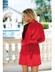 marion czerwony szlafrok satynowy damski z koronką na ramionach firmy dkaren