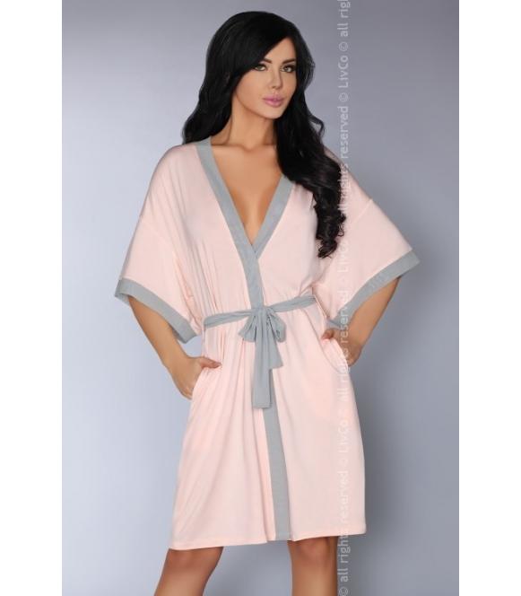 aoidea pastekowo różowy szlafrok damski wiązany w talii livco corsetti