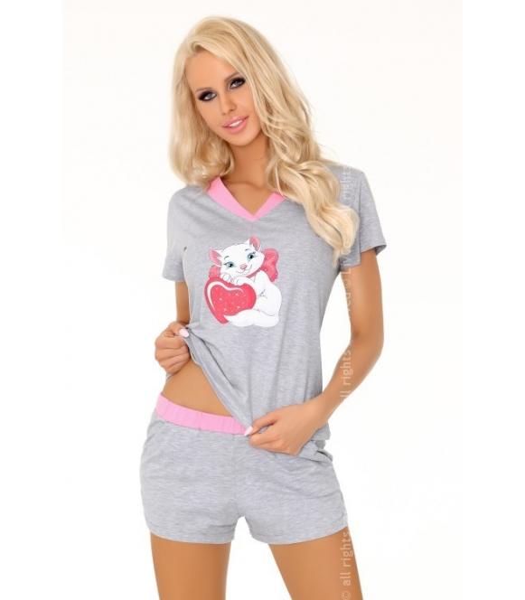 aghavni piżama samska szaro różowa livco corsetti 100% bawełna