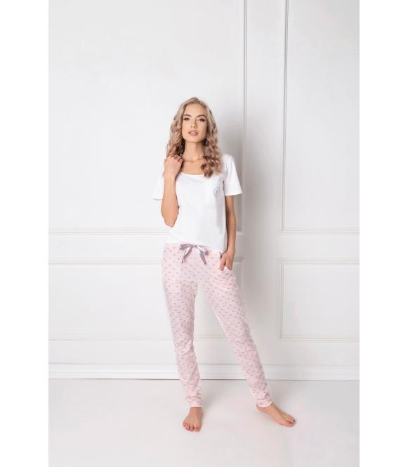 Piżama Q Long Biało-różowa