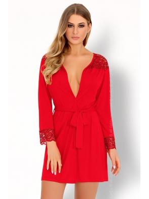 czerwony komplet bielizny szlafrok i stringi livco corsetti omolarina
