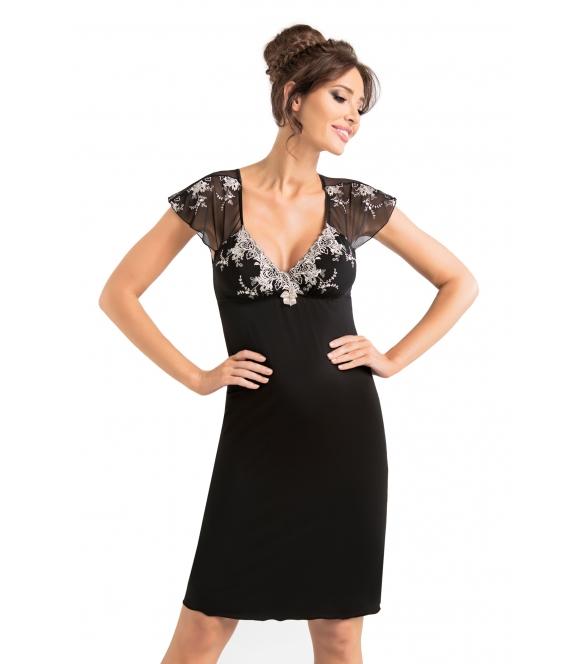 donna haftowana koszulka nocna czarna z lekko przeźroczystymi krótkimi rękawami czarna z wiskozy