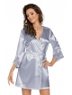 satynowy elegancki szlafrok damski wiązany w talii donna Eva Silver