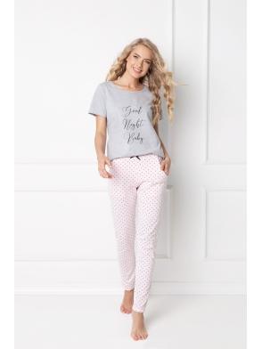 Piżama Grace Long Grey-Pink