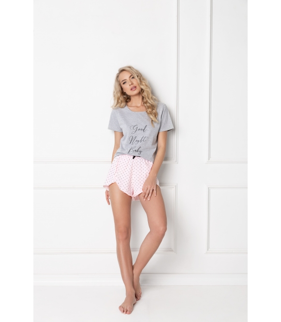 Piżama Grace Short Grey-Pink