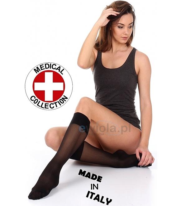 Podkolanówki damskie podkolanka przeciwżylakowe Włoskie czarne antyżylakowe
