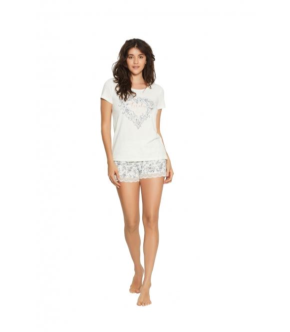 Piżama Floral 38057-01X Ecru