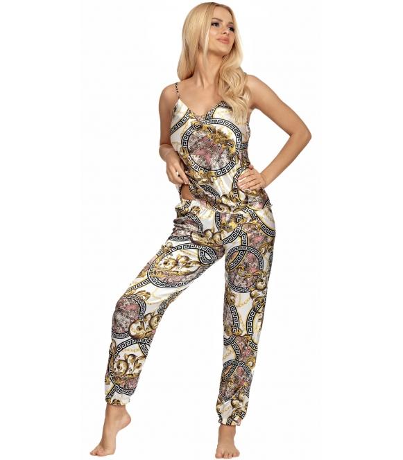 satynowa wzorzysta piżama damska na ramiączkach z długimi spodniami z gumką w pasie i ściągaczami na dole donna donatella