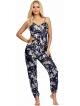 granatowa satynowa piżama damska na ramiączkach z eleganckim wzorem spodnie długie ze ściągaczami na kostkach donna donatella