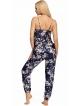 dwuczęściowa piżama damska z satyny o ciekawym wzorze koszulka na ramiączkach długie spodnie z gumką donna donatella