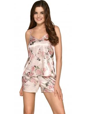 różowa satynowa piżama damska o kwiecistym atrakcyjnym wzorze na ramiączkach krótkie spodenki babella mirella