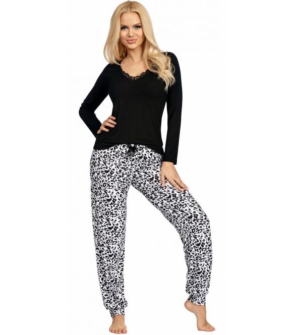 piżama damska z motywem w centki dwuczęściowa góra czarna z dekoltem z koronki spodnie długie motyw centek donna bonnie