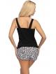 piżama damska z krótkimi szortami w centki i zdobionymi kokardką góra czarna z dekoltem koronkowym donna bonnie