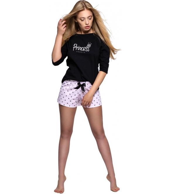 sensis piżama damska dwuczęściowa czarna góra z krótkim rękawem i nadrukiem na piersiach spodenki krótkie jasne w kropki