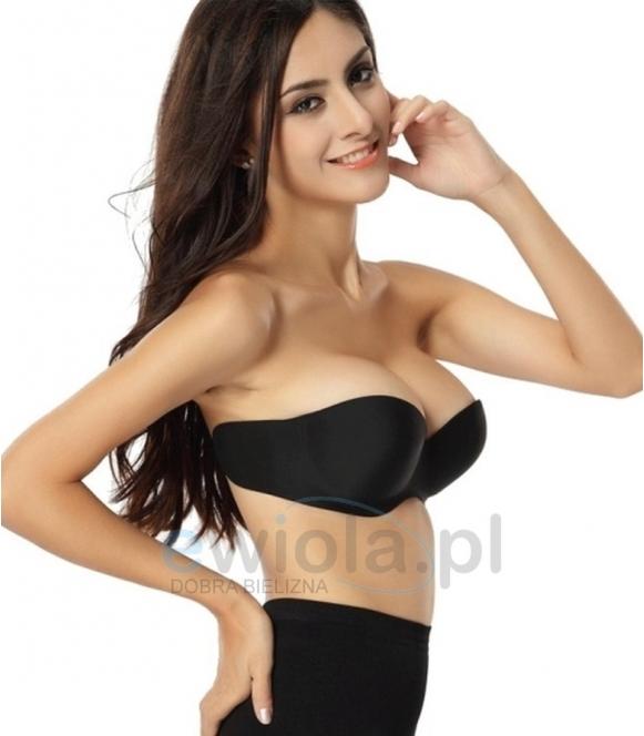 Biustonosz damski push up samonośny żelowy seamless bra czarny