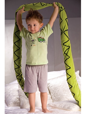 Piżamka chłopięca Samuel 2973 szaro-zielona
