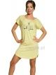 koszula nocna damska bawełniana żółta z nadrukiem chill krótki rękaw długość przed kolano taro pia 2156