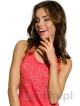 damska koszula nocna na ramiączkach długość przed kolanka taro marika 1130 czerwona z kolorowym nadrukiem summer bawełna