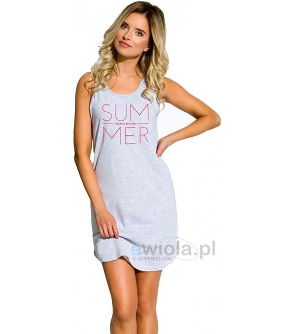 bawełniana damska koszula nocna na ramiączkach taro model marika 1130 szara z nadrukiem summer
