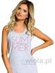 polska koszula nocna na ramiączkach długość przed kolana firmy taro model marika 1130 kolor szary z nadrukiem summer