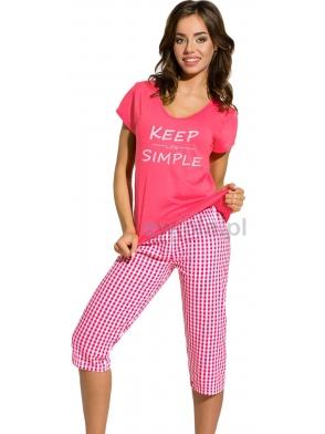 piżama damska bawełniana paula 2159 wykonana z bawełny krótki rękaw nadruk keep simple