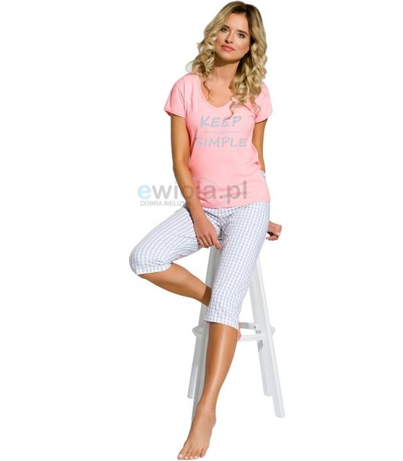 bawełniana piżama damska z krótkim rękawem i spodniami za kolano taro paula2159 różowa z nadrukiem