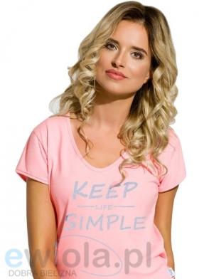 urocza różowa piżama damska bawełniana wyprodukowana w Polsce krótki rękaw nadruk keep simple ewiola