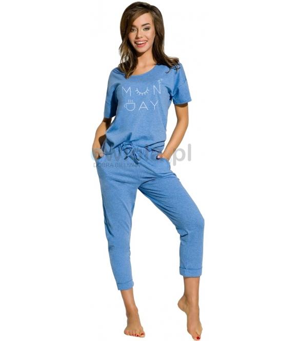 piżama damska bawełniana krótki rękaw spodnie z kieszonkami firmy taro model alexa 2164 niebieska