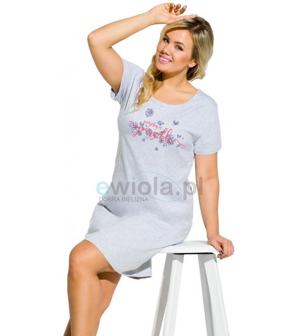 damska koszula nocna większe rozmiary z krótkimi rękawkami długość koszuli przed kolana wykonana z bawełny taro agnieszka 938