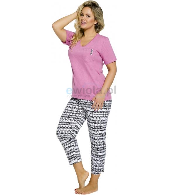 polska piżama damska duże rozmiary krótki rękaw spodnie 3/4 taro etna 2192 kieszonka
