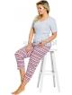 piżama damska bawełniana do spania krótki rękaw taro etna 2192 z kieszonką kolorowy wzór spodni