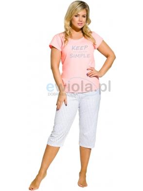 piżama bawełniana damska większe rozmiary koszulka krótki rękaw z napisem spodnie w kratę typu rybaczki taro paula 2194
