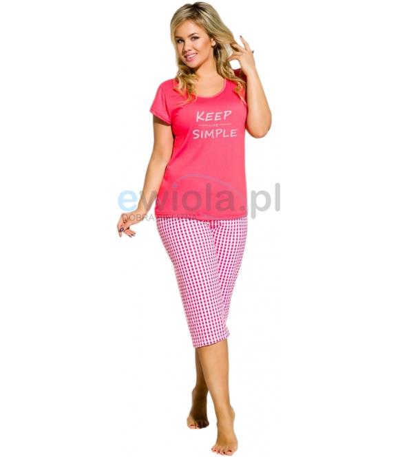 piżama damska taro koszulka krótki rękaw z nadrukiem spodnie 3/4 w modną kratę większe rozmiary paula 2194