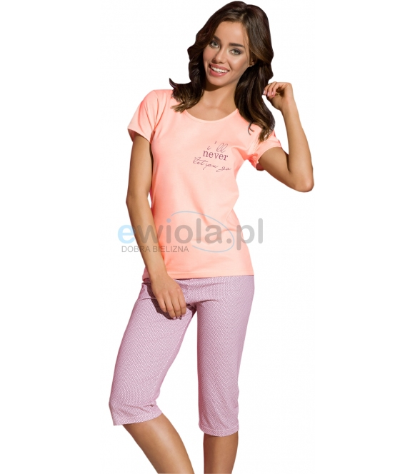 damska piżama bawełniana z koszulką krótki rękaw spodnie typu rybaczki we wzory taro kelly 2160