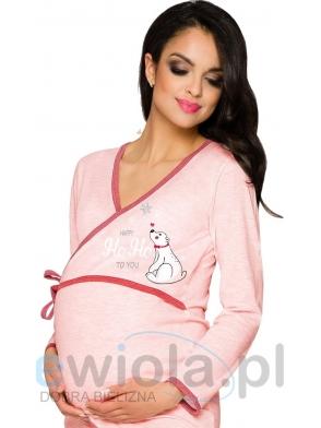 bawełniana damska koszula ciążowa ułatwiająca karmienie niemowląt po porodzie różowa wiązana w pasie z nadrukiem taro asia 113