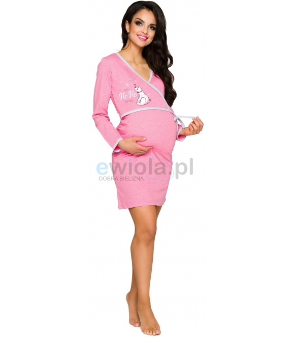 taro asia 113 koszula nocna ciążowa do karmienia niemowląt bawełniana różowa z nadrukiem wiązana w pasie
