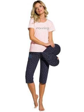 piżama nocna damska firmy taro model rachel 2163 koszulka krótki rękaw z nadrukiem morning spodnie rybaczki granatowe z wzorem