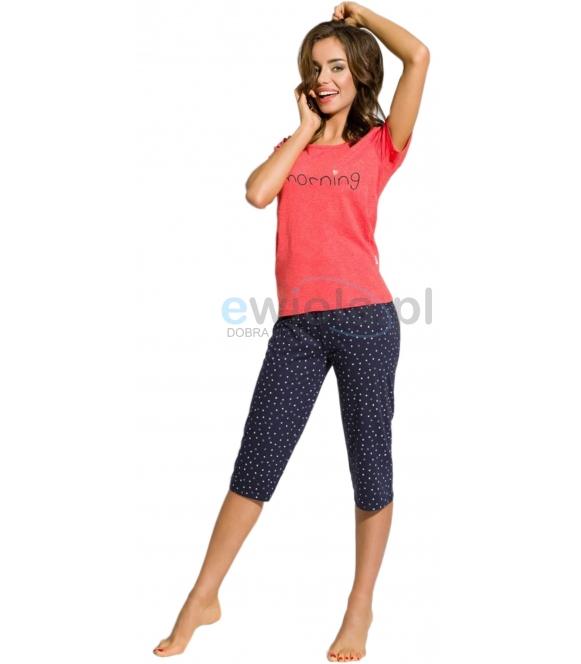 taro piżama damska bawełniana z krótkim rękawem i spodniami 3/4 ze wzorem serduszek rachel 2163