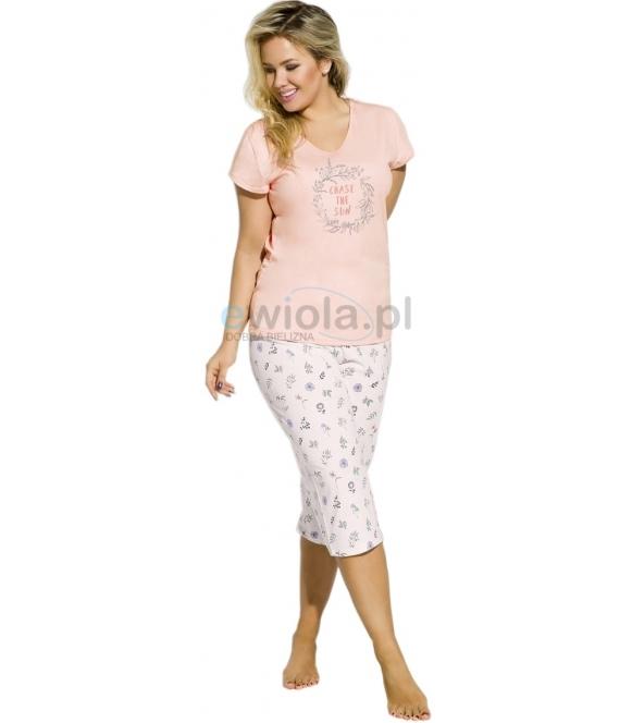 piżama damska bawełniana size plus góra krótki rękaw z sympatycznym nadrukiem spodnie rybaczki ze wzorem taro donata 2186