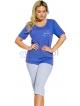 plus size piżama damska bawełniana duże rozmiary koszulka granatowa krótki rękaw z nadrukiem spodnie za kolano taro magda 109