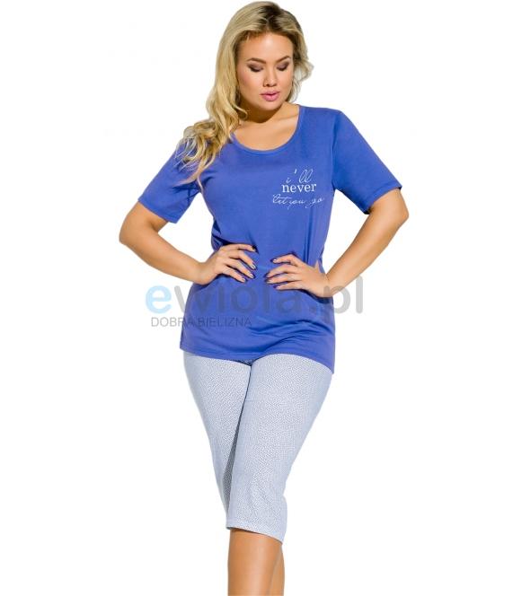 piżama damska bawełniana duże rozmiary koszulka granatowa krótki rękaw z nadrukiem spodnie za kolano taro magda 109