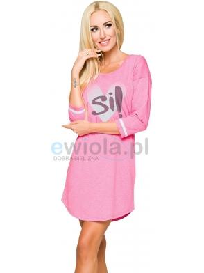 koszula damska nocna bawełniana długość rękawa 3/4 koszula przed kolana z nadrukiem serce taro hana 2117