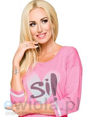 bawełniana koszula damska długość przed kolano kolor różowy nadruk duże serce taro hana2117