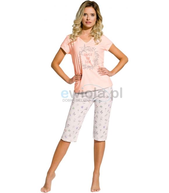 piżama damska taro donata 2169 koszulka krótki rękaw z kolorowym nadrukiem spodnie za kolano z nadrukiem
